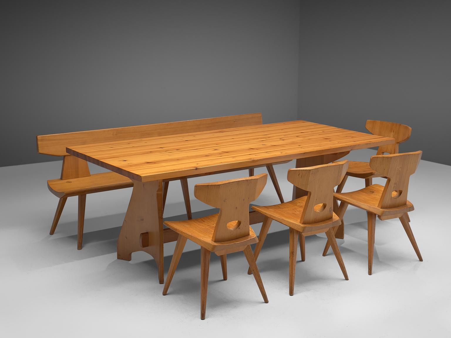 Ordinaire Jacob Kielland Brandt Dining Set In Solid Pine, 1960s