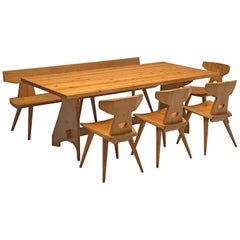 Jacob Kielland-Brandt Dining Set in Solid Pine, 1960s