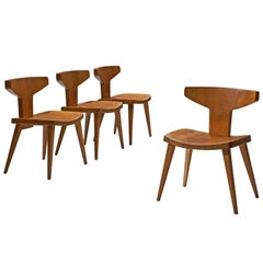 Jacob Kielland-Brandt Patinated Dining Chairs in Solid Pine