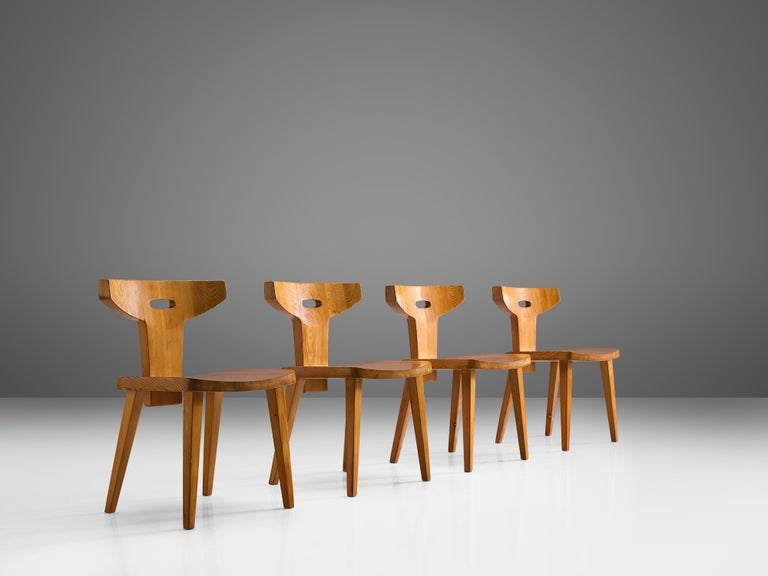 Scandinavian Modern Jacob Kielland-Brandt Set of Four Dining Chairs in Solid Pine For Sale