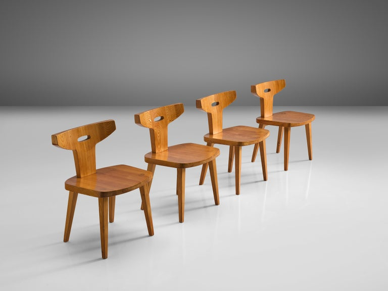 Danish Jacob Kielland-Brandt Set of Four Dining Chairs in Solid Pine For Sale