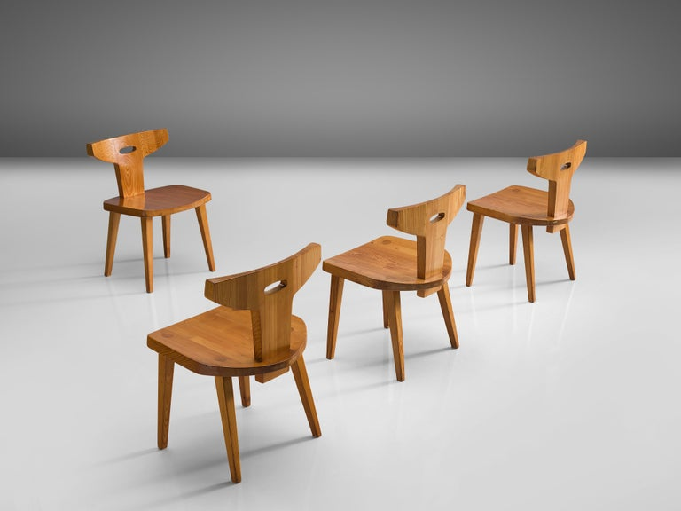 Jacob Kielland-Brandt Set of Four Dining Chairs in Solid Pine In Good Condition For Sale In Waalwijk, NL