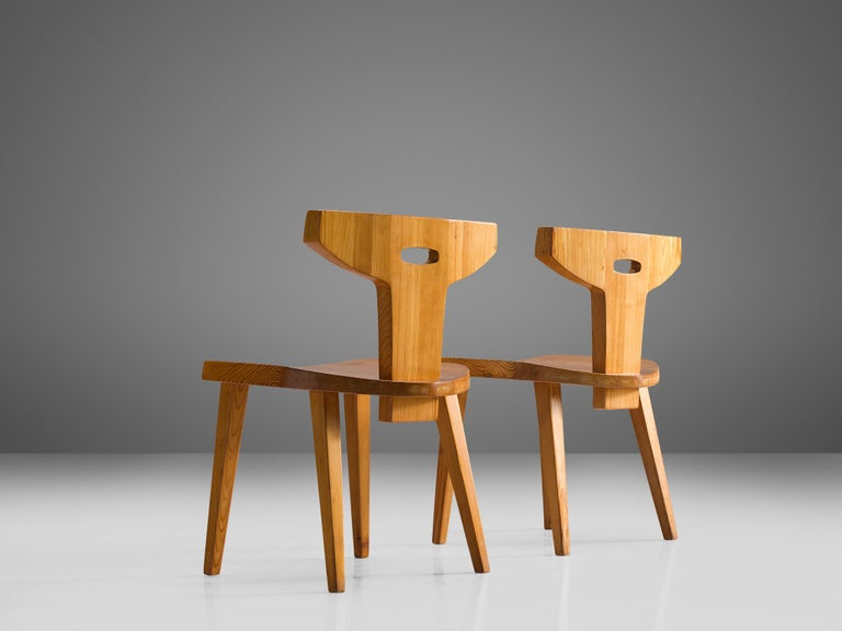 Mid-20th Century Jacob Kielland-Brandt Set of Four Dining Chairs in Solid Pine For Sale