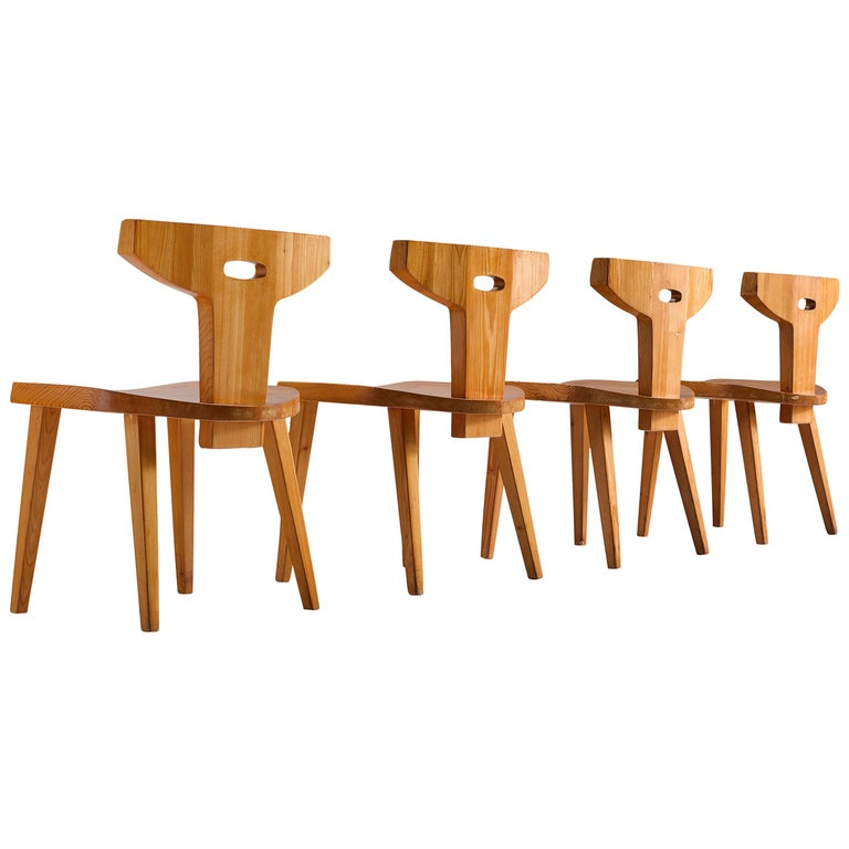 Jacob Kielland-Brandt Set of Four Dining Chairs in Solid Pine For Sale