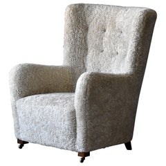 Jacob Kjær, Attribution High-Back Lounge Chair, Sheepskin, Denmark, 1940s