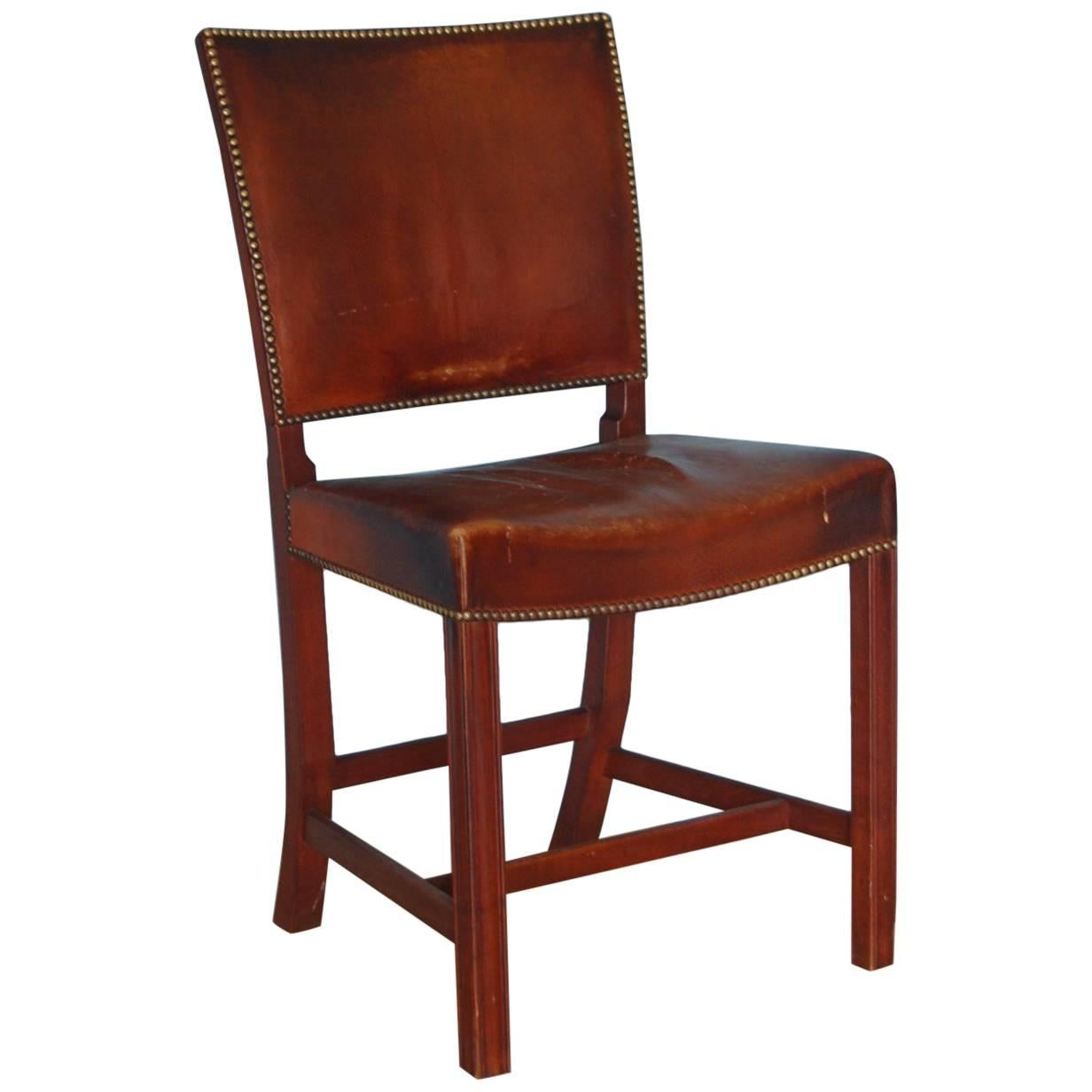 Jacob Kjaer Chair, Mahogany Frame + Original Niger Leather, circa 1930