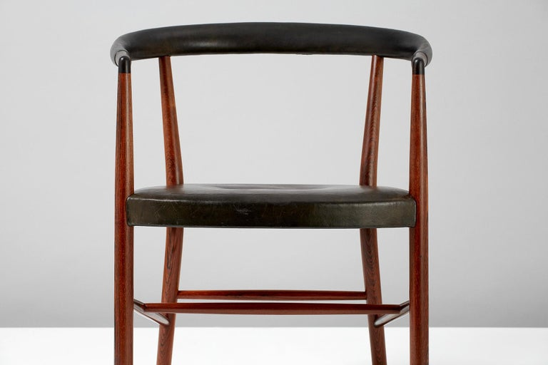 Leather Jacob Kjaer Model B-37 Rosewood Un Chair, 1949 For Sale