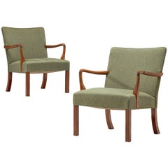 Jacob Kjær Pair of Lounge Chairs in Mahogany and Green Fabric Upholstery