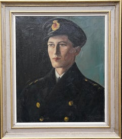 Portrait of a Navel Officer - British 1920's art military portrait oil painting