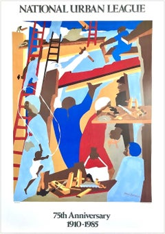 THE BUILDERS 1985 National Urban League Commemorative Art Poster, 1st Edition