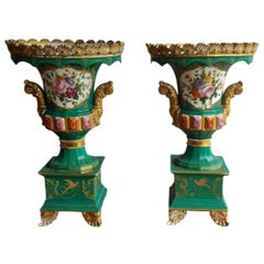 Jacob Petit Hand Painted Urn Vases with Gilding Detailing and Jewelling