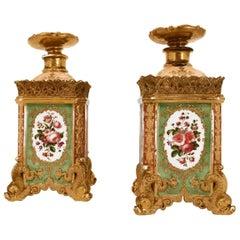 Jacob Petit, Pair of Flasks with Canted Corners in Enameled Porcelain, 1840