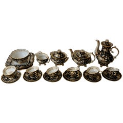 Jacob Petit Paris Gilded Porcelain Tea Service for 12