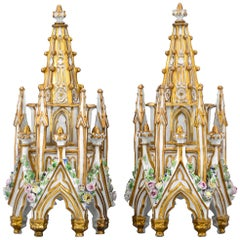 Jacob Petit Porcelain Gothic Revival Perfume Bottles