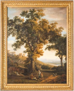 18th century Italian figure painting - Arcadian landscape - Oil on canvas Naples