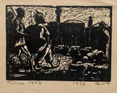 1943 Israeli German Expressionist Woodcut Print Vintage Woodblock Bezalel School