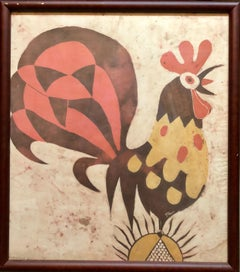 "German Israeli Expressionist ""Rooster"" Batik Style Painting Print on Silk Fabric"