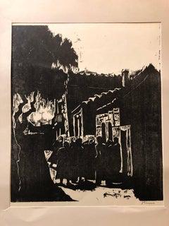 German Israeli Expressionist Woodcut Print Pencil Signed Jerusalem