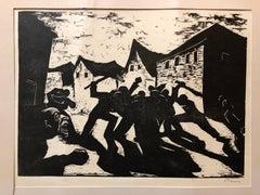 German Israeli Expressionist Woodcut Print Pencil Signed Street Fight