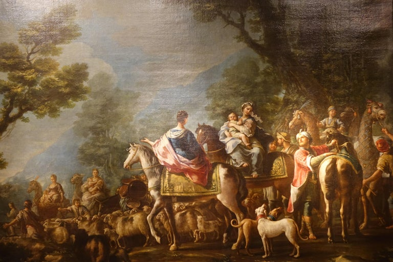 Large  painting,oil on canvas representing the departure of Jacob from Laban (Genesis 29-32). Jacob, set out for the land of Haran in search of a woman, first marrying Leah, then Rachel, the two daughters of Laban. Jacob begot twelve sons, all born