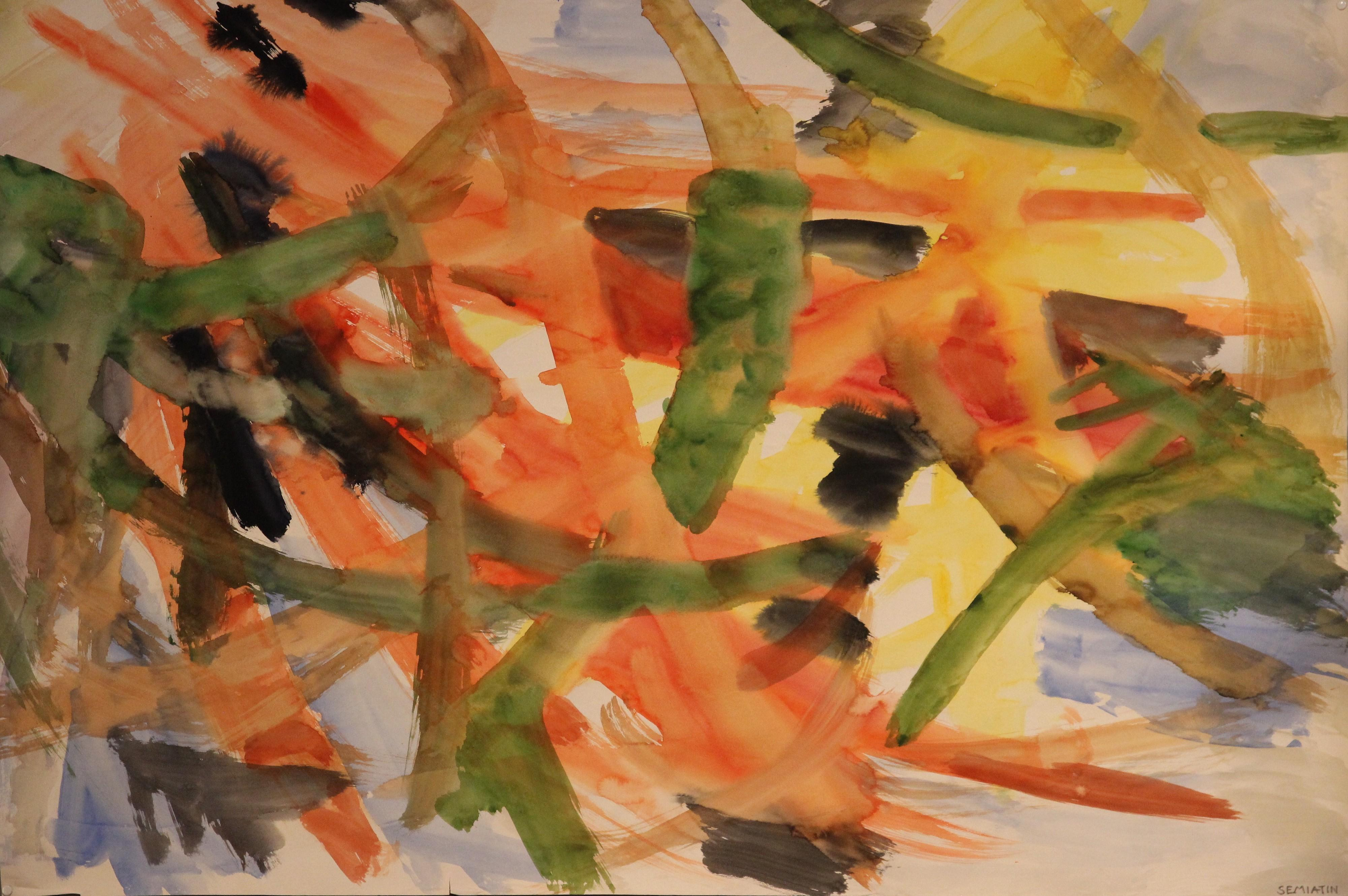 Jacob Semiatin, Painting, Watercolor on paper Signed, Circa 1950, USA