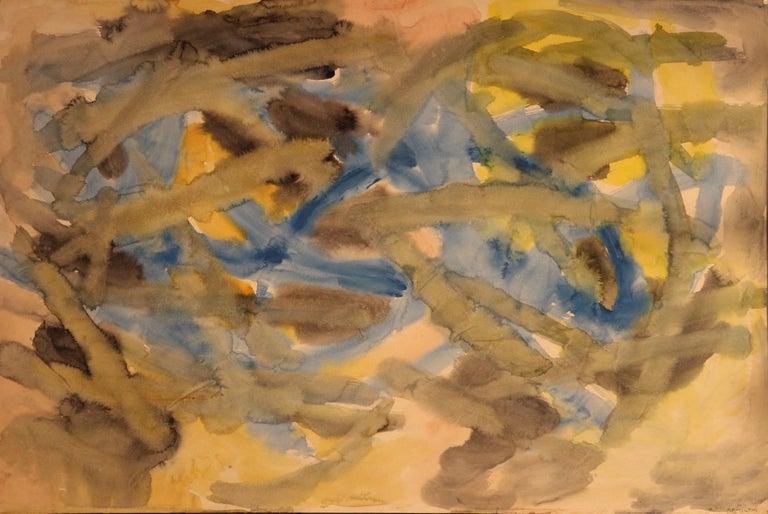 Jacob Semiatan Abstract Painting - Jacob Semiatin, Painting, Watercolor on paper Signed, Circa 1950, USA