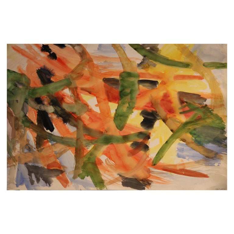 Jacob Semiatin, Painting, Watercolor on Paper Signed, circa 1950, USA For Sale