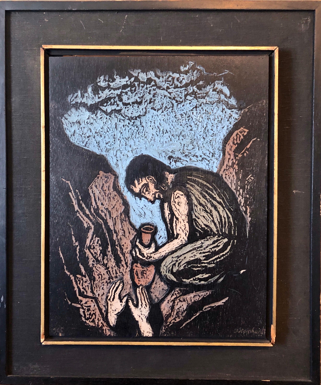 German Expressionist Hand Carved Colored Original Wood Pane Art Israeli Bezalel