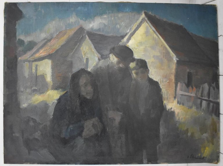 Jewish Family  Wintery Swiss Town - Painting by Jacob Steinhardt