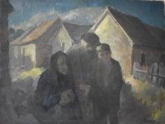 Jewish Family  Wintery Swiss Town