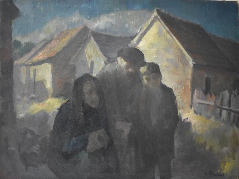 Jacob Steinhardt Figurative Painting -  Jewish Family  Wintery Swiss Town