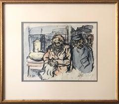1921 Steinhardt German Expressionist Hand Colored Lithograph Israeli Bezalel Art