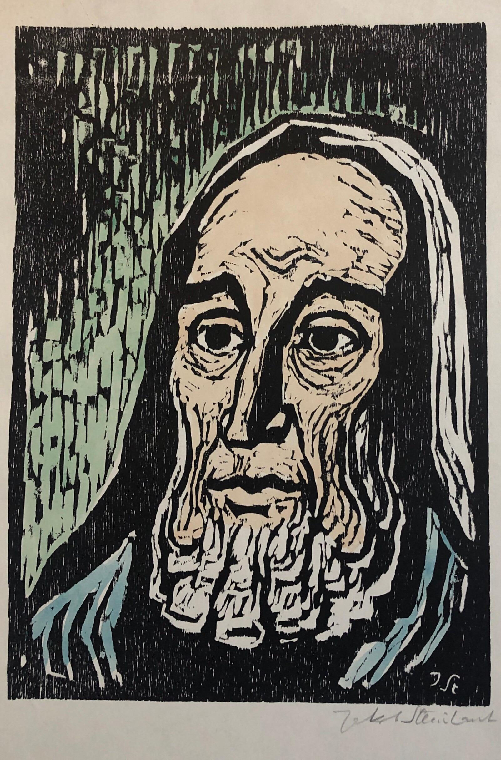 Jewish Prophet Rabbi German Expressionist Color Woodcut Israeli Early Bezalel