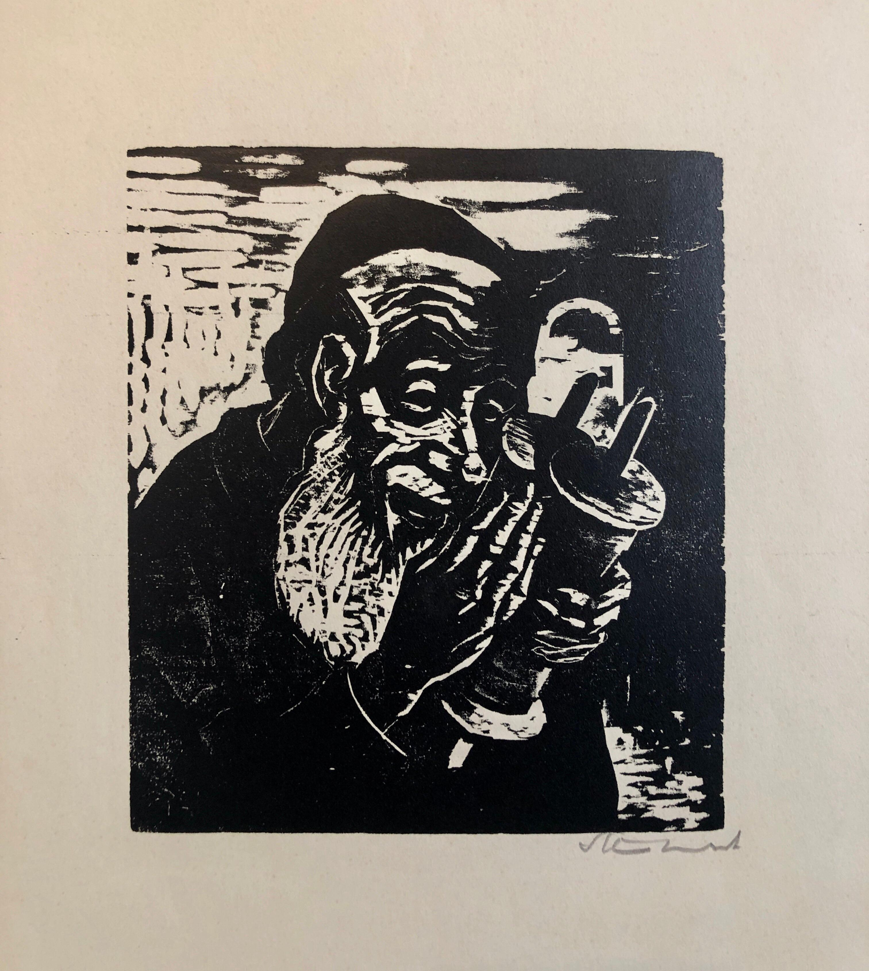 Jewish Rabbi with Torah German Expressionist Woodcut Israeli Early Bezalel