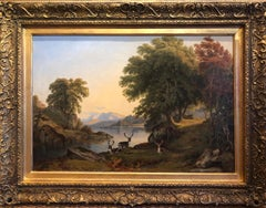 19th Century Landscape Oil Painting - Deer by the Banks of a Lake