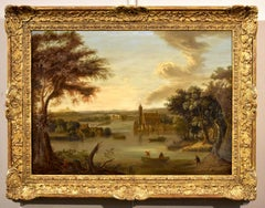 Fluvial Landscape Castles Flemish 17th Century Paint Oil on canvas Old master