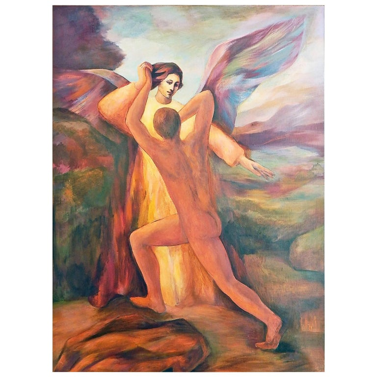 """Jacob Wrestling with the Angel,"" Large Midcentury Painting in Rust and Blue For Sale"