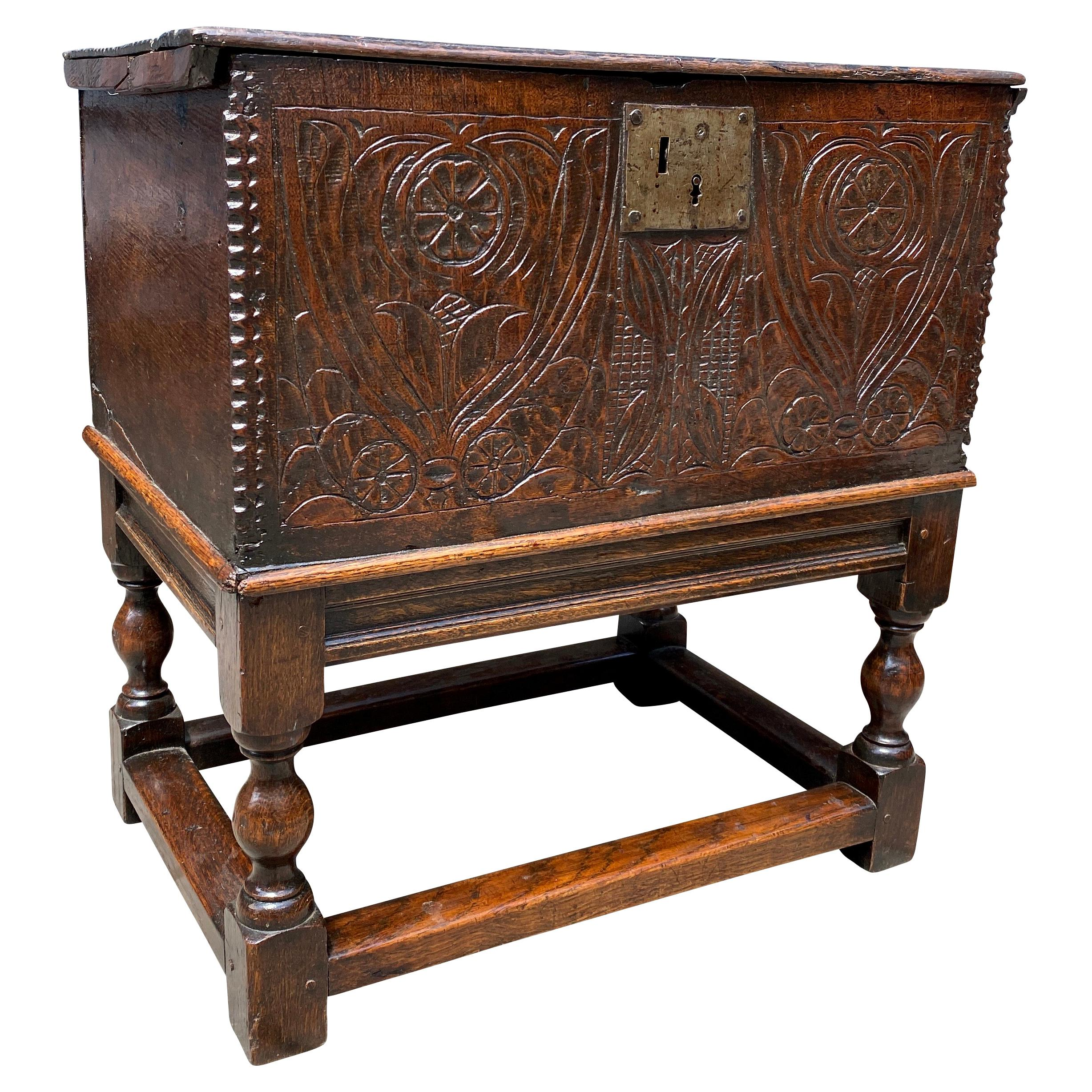 Jacobean Carved Oak Box on Stand