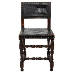 Jacobean Leather and Nail Head Trim Side Chair
