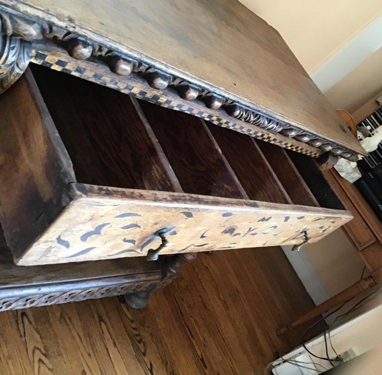 Jacobean Oak Court Cabinet Base For Sale 7
