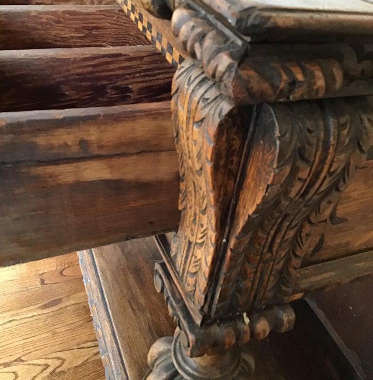 Jacobean Oak Court Cabinet Base For Sale 10