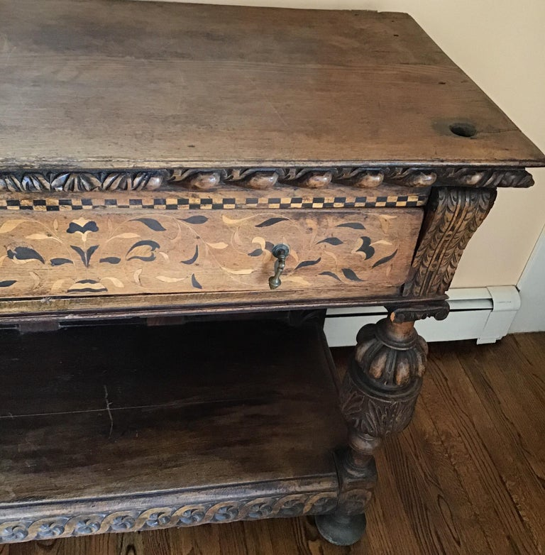 Jacobean Oak Court Cabinet Base In Good Condition For Sale In Douglas Manor, NY