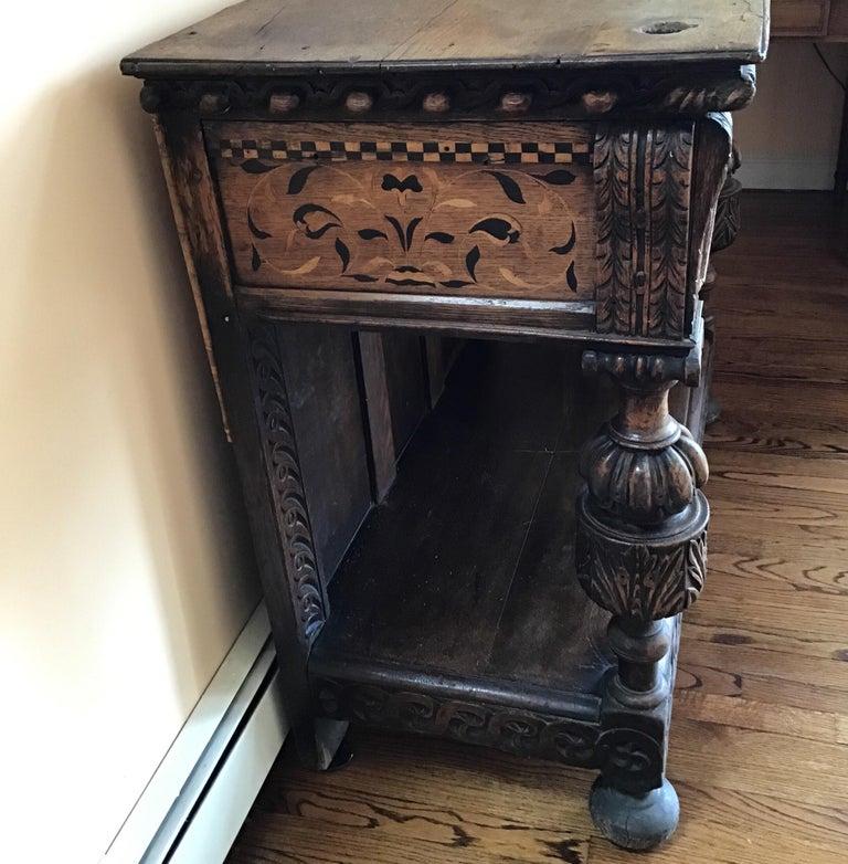 Jacobean Oak Court Cabinet Base For Sale 3
