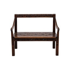Jacobean Open Back Antique Hall Bench