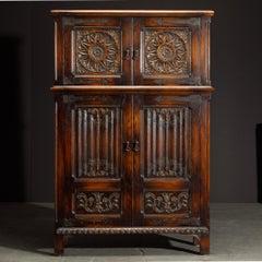 Jacobean Revival Carved Oak Highboy Cabinet