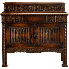 Jacobean Revival Carved Oak Server or Dry Bar
