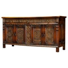 Jacobean Revival Carved Oak Sideboard Credenza