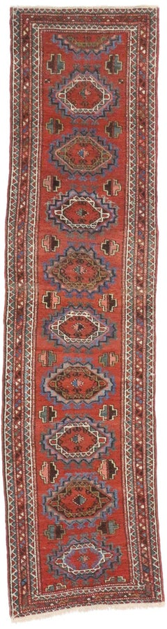 Jacobean Style Antique Persian Heriz Runner, Narrow Hallway Runner
