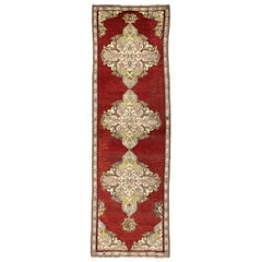 Jacobean Style Antique Turkish Oushak Hallway Runner