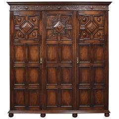 Jacobean Style Carved Oak Three-Door Wardrobe